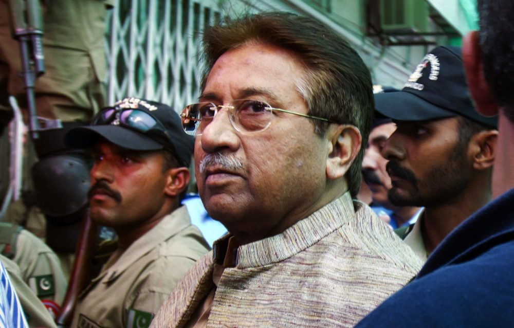 In this April 20, 2013, photo, Pakistan's former president and military ruler Pervez Musharraf arrives at an anti-terrorism court in Islamabad, Pakistan. (Anjum Naveed/AP)