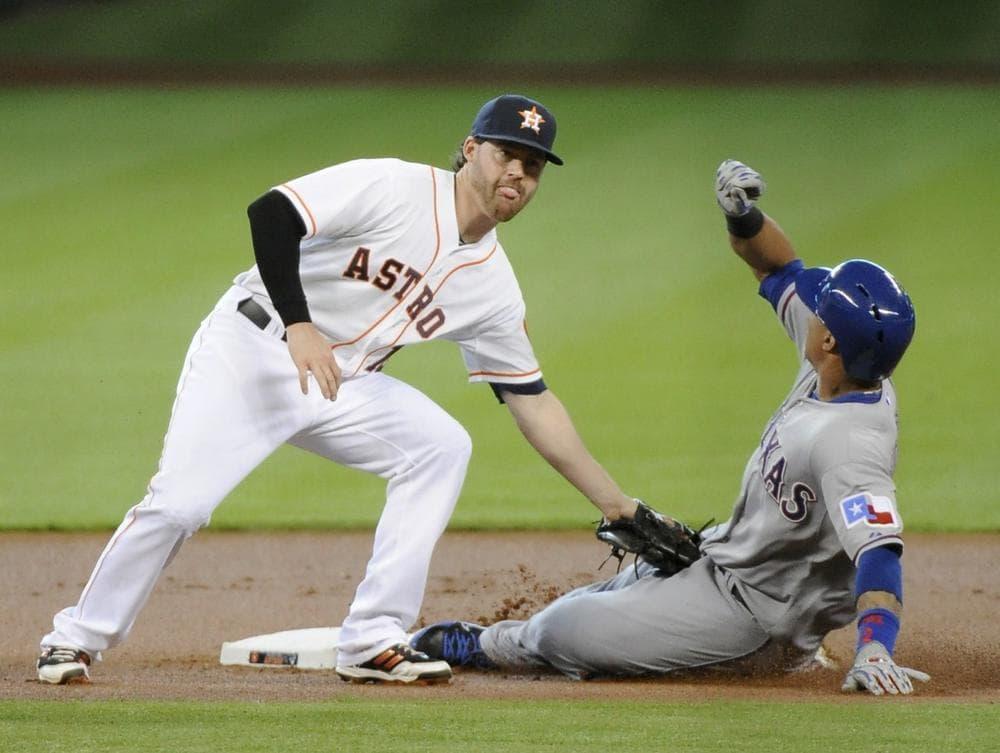 "Calling Houston's Jake Elmore (left) a ""utility man"" may be an understatement. (Pat Sullivan/AP)"