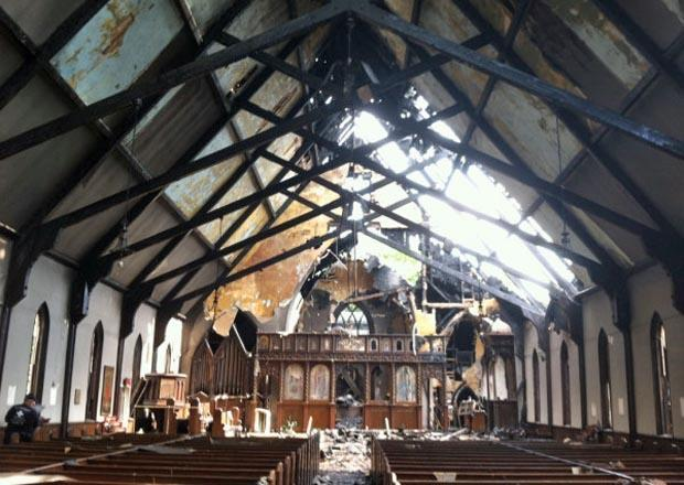 The inside of the St. John the Baptist Albanian Orthodox Church in South Boston the day after the five-alarm blaze. (Boston Fire Department)