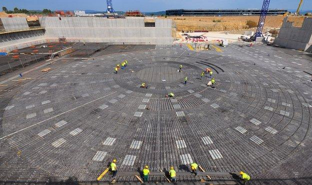 The foundations for Iter's tokamak — which will contain the hot plasma — have been laid. (BBC)