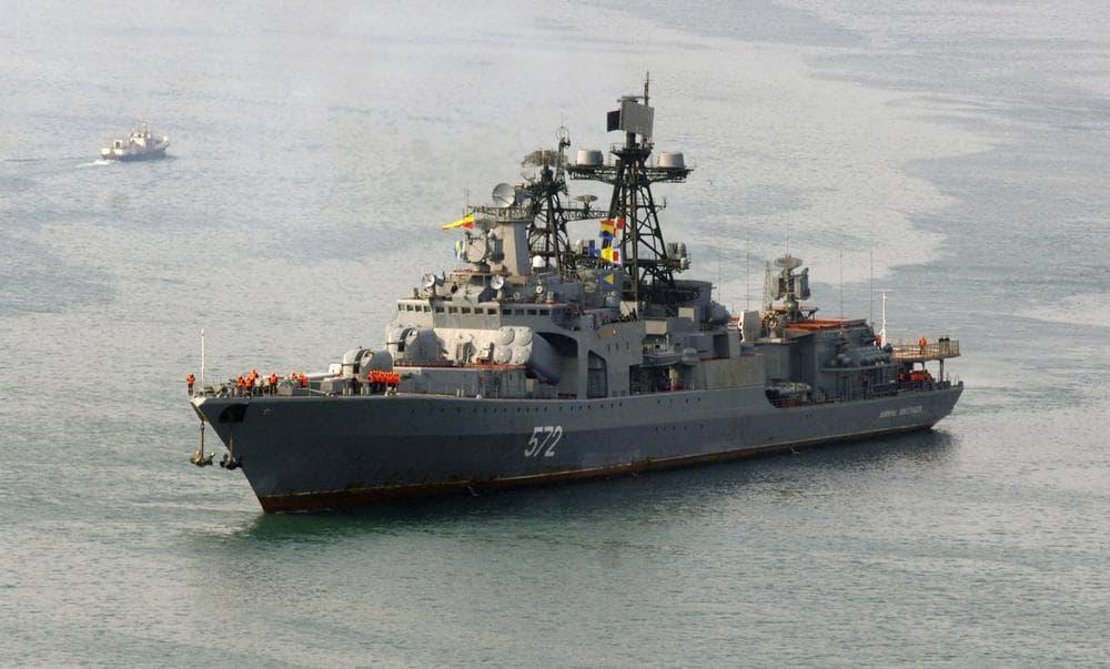 A Russian anti-submarine ship is pictured in Vladivostok, Russia, in April 2009. (AP)