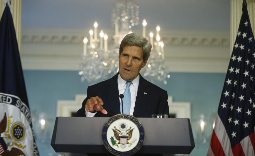 Secretary of State John Kerry makes a statement about Syria at the State Department in Washington, Friday, Aug. 30, 2013. (Charles Dharapak/AP)