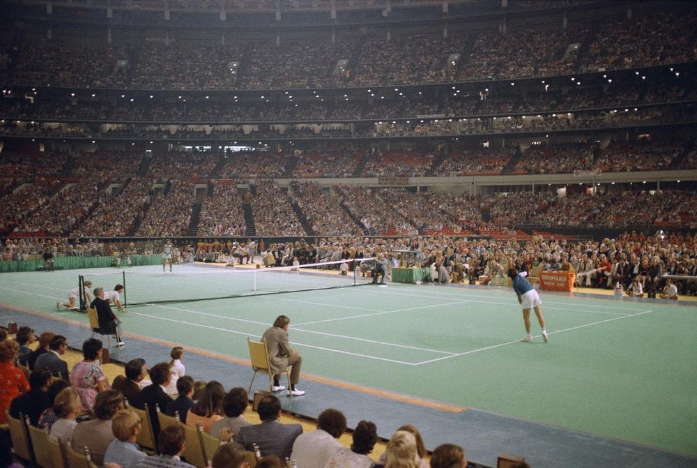 In 1973, Billie Jean King bested Bobby Riggs in front of 30,000 spectators at the Houston Astrodome. (AP)