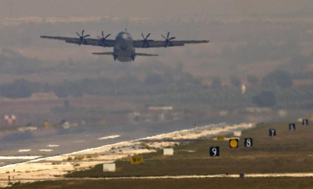 A U.S. Air Force plane takes off from the Incirlik Air Base, Turkey, Friday, Aug. 30, 2013. U.N. Secretary-General Ban Ki-moon said the Inspection team in Syria is expected to complete its work Friday and report to him Saturday. (Vadim Ghirda/AP)