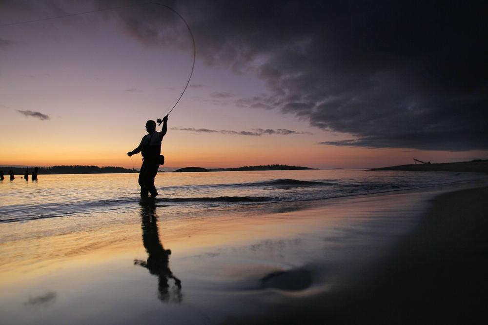 Bill Manser, of Royalston, Mass., casts for striped bass at the mouth of Kennebec River at dawn, Friday, Aug. 5, 2011, in Phippsburg, Maine. (AP/Robert F. Bukaty)