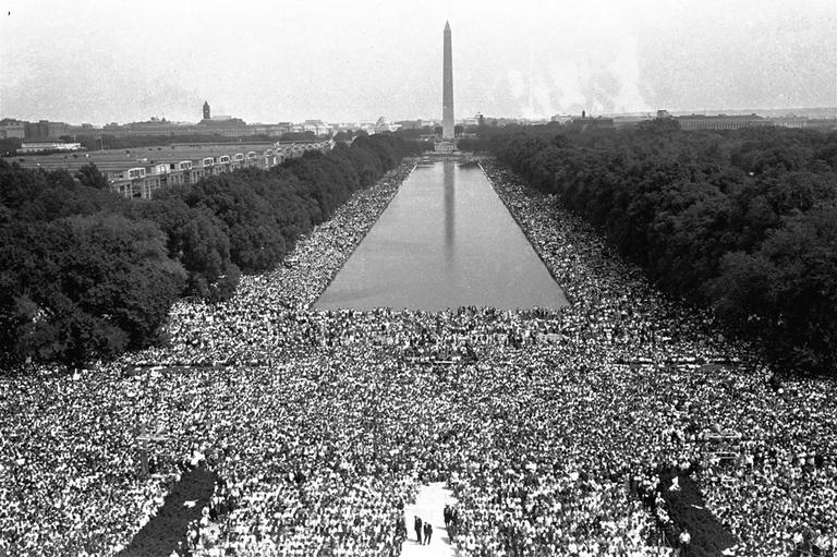 Crowds are shown in front of the Washington Monument during the March on Washington for civil rights, August 28, 1963. (AP)