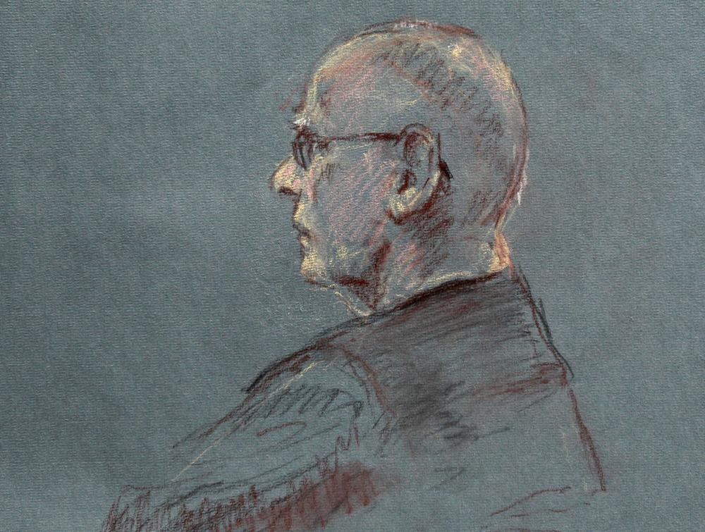 "This courtroom sketch depicts James ""Whitey"" Bulger at the beginning of jury selection for his trial in U.S. District Court in Boston, Tuesday, June 4, 2013. (AP/Margaret Small)"