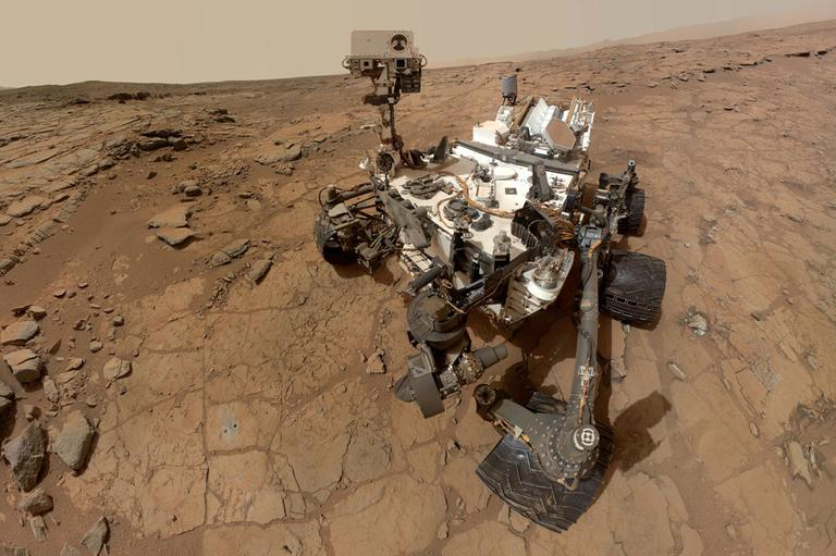 This photo released by NASA shows a self-portrait taken by the NASA rover Curiosity in Gale Crater on Mars. Measurements of the Martian air by the rover found it's mostly made of carbon dioxide with traces of other gases, according to two studies appearing in the Friday, July 19, 2013 issue of the journal Science. (AP/NASA)