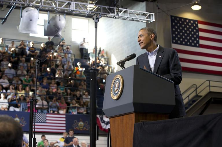 President Barack Obama speaks about college financial aid, at Lackawanna College in Scranton, Pa., Friday, Aug. 23, 2013 the last stop on his two-day bus tour of upstate New York and Pennsylvania. (AP)