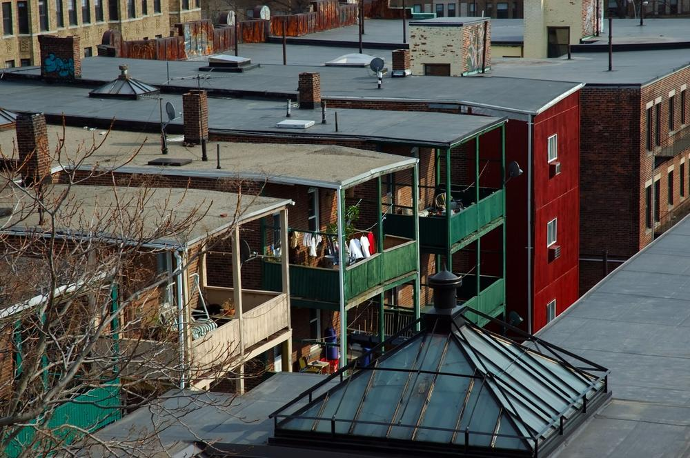 Rooftop view of apartments in Allston, Mass. (Wikimedia Commons/Joel McCoy)
