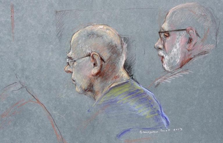 "This courtroom sketch depicted James ""Whitey"" Bulger during the first day of his racketeering trial on June 12. (Margaret Small /AP)"
