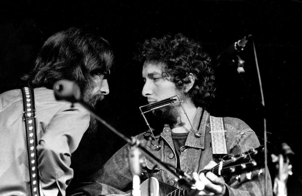 George Harrison and Dylan at The Concert for Bangladesh in 1971. (AP)