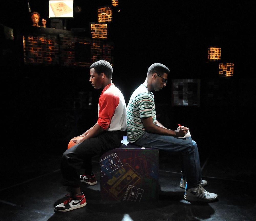 "Jared Brown as Julian (left) and Kadahj Bennett as Hank (right) in Company One's production of ""How We Got On."" (Craig Bailey/Perspective Photo)"