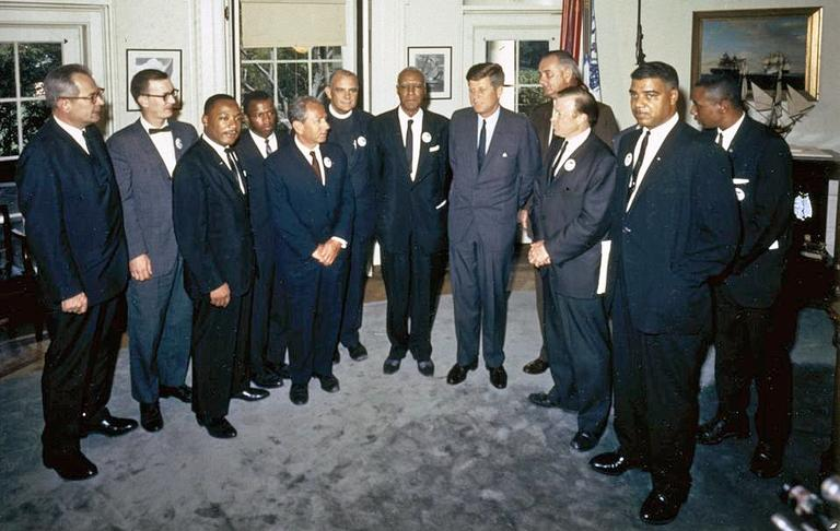"President John F. Kennedy meets with organizers of ""The March on Washington for Jobs and Freedom"" in the Oval Office on August 28, 1963. (Cecil Stoughton/John F. Kennedy Presidential Library and Museum)"