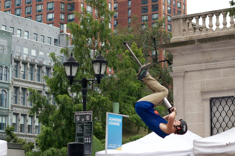 Tone Staubs mid-backflip at Pogopalooza 10 in New York. (Whitney Jones/Only A Game)