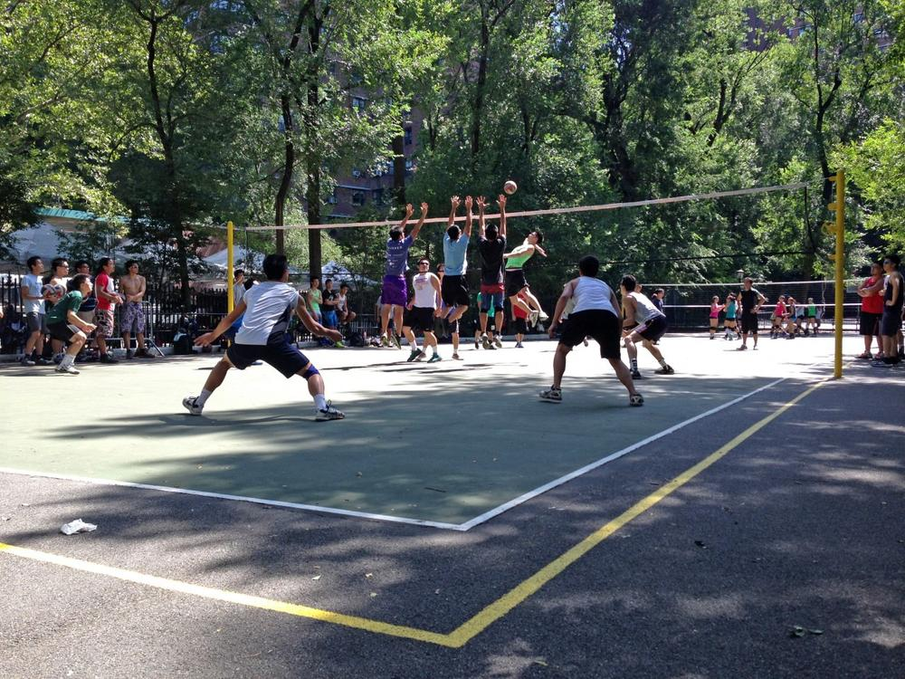 Nine-man requires a wider court than regular volleyball. In New York's Seward Park it's marked by a yellow line. (Christine Lakowski/Only A Game)