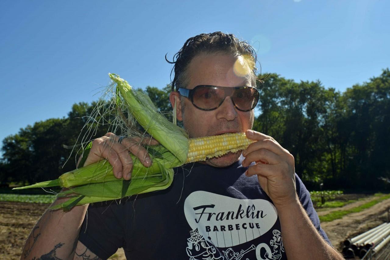 Chef Andy Husbands at Hutchins Farm in Concord, Mass. (Alex Kingsbury/WBUR)