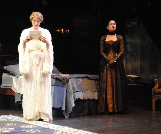"""Ashton Heyl as Annabelle West and Ariana Venturi as Mrs. Underwood in """"The Cat and the Canary."""" (Abby LePage)"""