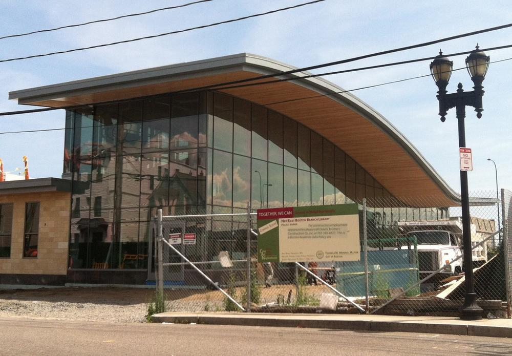 East Boston's new public library branch opens this fall. (Andrea Shea/WBUR)