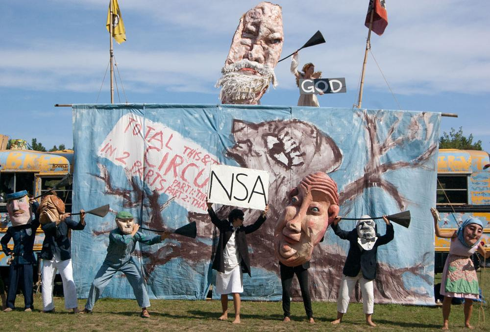 Everyone is listening to your phone calls, according to the Bread and Puppet circus. (Greg Cook)