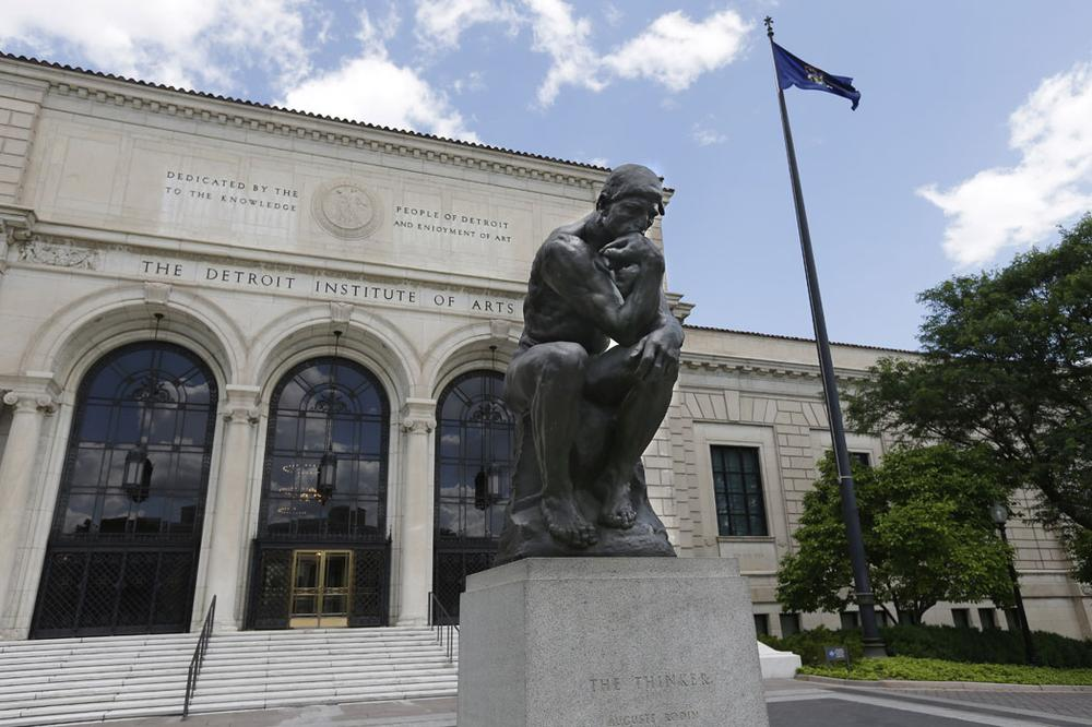 "Rodin's ""Thinker"" sits outside the Detroit Institute of Arts. (AP Photo/Carlos Osorio)"