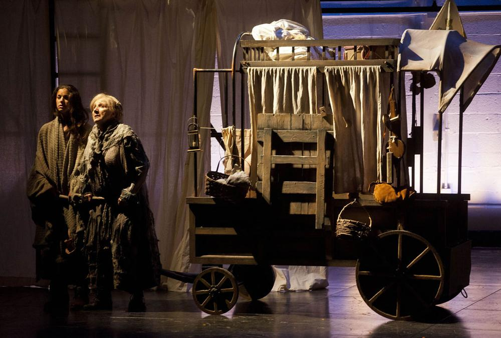 Brooke Parks as Mother Courage's daughter Kattrin and Olympia Dukakis as Mother Courage pull the canteen wagon. (Courtesy photo)