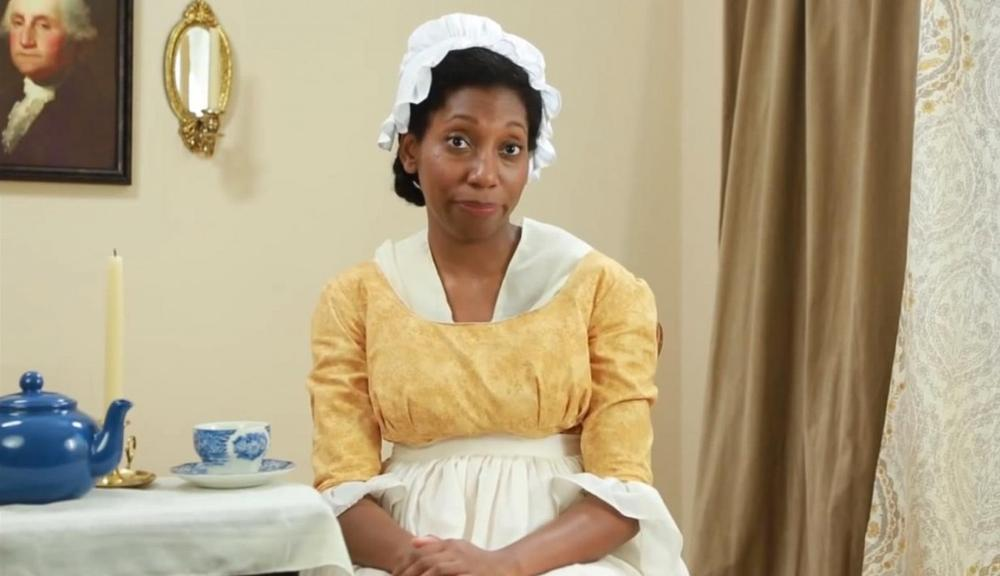 "Azie Dungey has created a comedy series called ""Ask A Slave,"" which is based on questions people asked her when she portrayed a slave at the Mount Vernon historic site. (Screenshot from Ask A Slave)"
