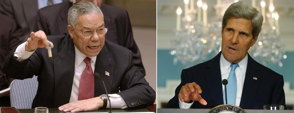 Colin Powell, left, appeared at the U.N. Security Council on Feb. 5, 2003, to present evidence of Iraq's weapons of mass destruction. John Kerry, right, made a statement about the use of chemical weapons in Syria at the State Department on August 30, 2013. (AP)