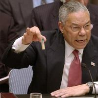 Colin Powell, left, appeared at the UN Security Council on Feb. 5, 2003, to present evidence of Iraq's weapons of mass destruction. John Kerry, right, made a statement about the use of chemical weapons in Syria at the State Department on August 30, 2013. (AP)