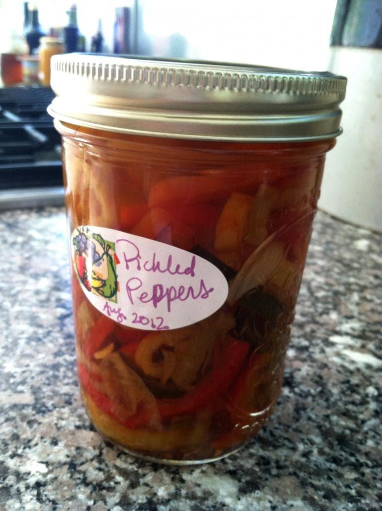 Kathy Gunst's pickled peppers. (Kathy Gunst/Here & Now)