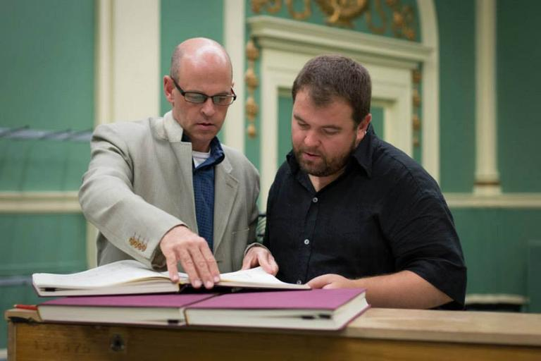 "Odyssey Opera artistic director Gil Rose, left, and tenor Kristian Benedikt rehearse ""Rienzi."" (Odyssey Opera, via Facebook)"