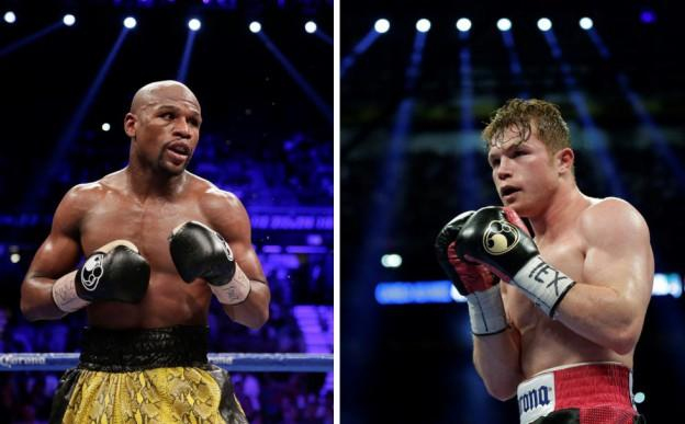 "Floyd Mayweather (left) will fight Saul ""Conelo"" Alvarez in what could be one of the most lucrative fights in recent history. (AP)"