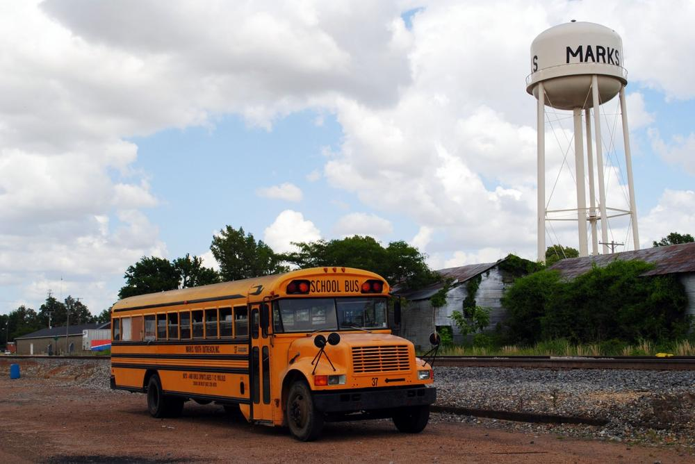 In this May 2, 2012 photograph taken in Marks, Miss., a school bus is parked in Marks, Mississippi, a town of about 1,600 in the Delta. (Laura Tillman/AP)