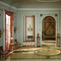 """""""French Bathroom and Boudoir of the Revolutionary Period, 1793-1804,"""" by  Narcissa Niblack Thorne, American, 1882-1966, c. 1937. (Art Institute of Chicago)"""