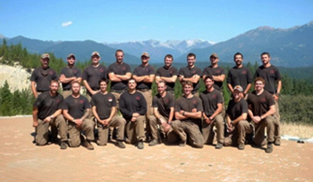 Unidentified members of the Granite Mountain Interagency Hotshot Crew from Prescott, Ariz., pose together in this undated photo. Some of the men were among the 19 firefighters killed while battling an out-of-control wildfire near Yarnell, Ariz., on June 30, 2013, according to the Prescott Fire Chief. It was the nation's biggest loss of firefighters in a wildfire in 80 years. (City of Prescott, Ariz.)