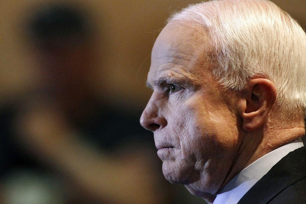 U.S. Senator John McCain, R-Ariz., listens during a town hall meeting dominated by discussion of Syria, Sept. 5, 2013, in Phoenix. (Ralph Freso/AP)
