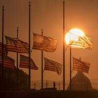 American flags surrounding the Washington Monument fly at half-staff on Tuesday, Sept. 17, 2013, a day after the deadly shootings at the Navy Yard. (J. Scott Applewhite/AP)