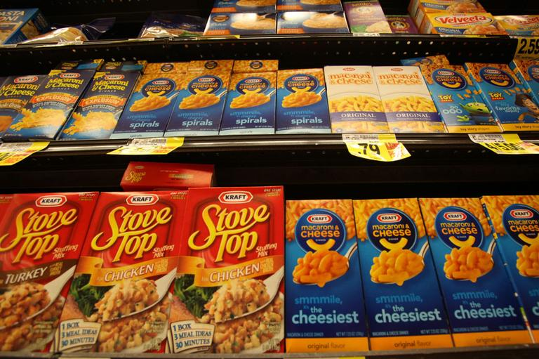 Kraft macaroni and cheese, Stove Stop stuffing mix, and Velveeta are seen at a Ralphs Fresh Fare supermarket in Los Angeles Wednesday, Feb. 9, 2011. (AP)