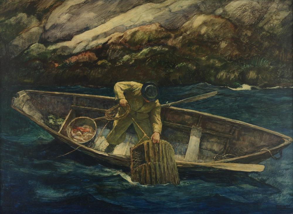 N.C. Wyeth, Deep Cove Lobster Man, ca. 1938, Oil on gessoed board (Renaissance panel), 16 ¼ x 22 3/4 inches. Courtesy of the Pennsylvania Academy of Fine Arts, Philadelphia, Joseph E. Temple Fund