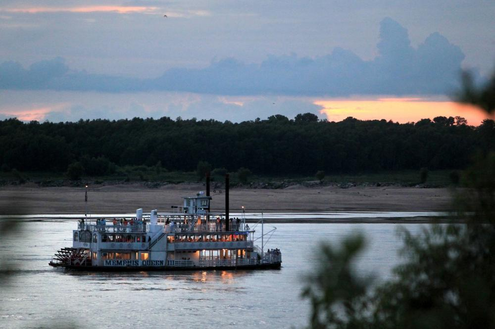 In this July 13, 2012, photo, the Memphis Queen riverboat moves up the Mississippi River, in Memphis, Tenn. (AP)