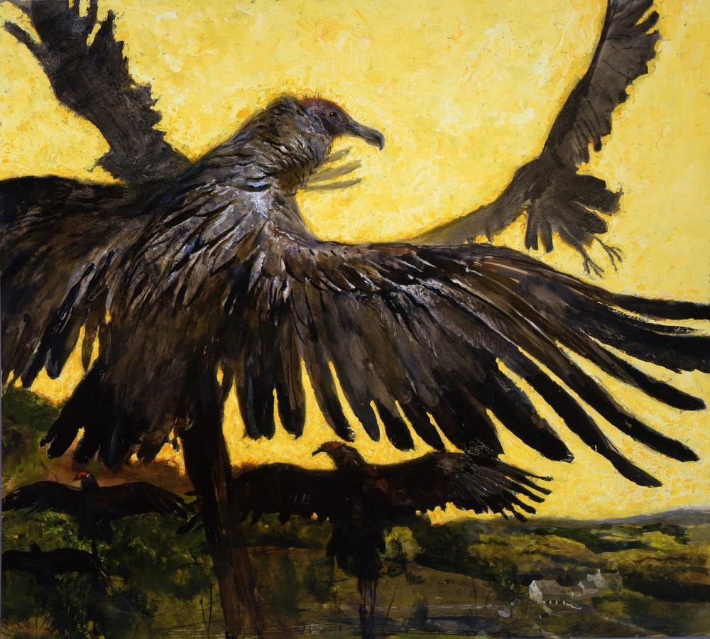 Jamie Wyeth, Portrait of Vulture, 1997, Combined mediums on toned woven paper, 28 x 31 inches, Private Collection, ©Jamie Wyeth