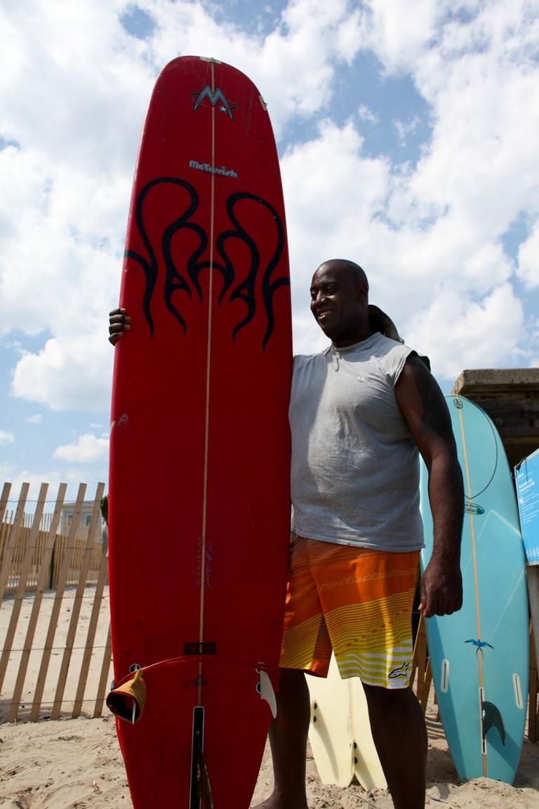 Ralton Lewis, 46, has been surfing at the Rockaways since 2007. (Stephen Nessen/Only A Game)