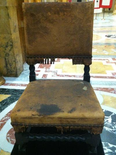 A chair that once belonged to John Endicott, Massachusetts' first governor (Andrea Shea/WBUR)