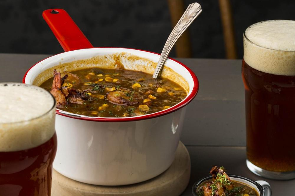 Blackened shrimp and corn chowder from Gritty McDuff's in Portland, ME. (From The American Craft Beer Cookbook (c) John Holl. Photography (c) Lara Ferroni. Used with permission of Storey Publishing)