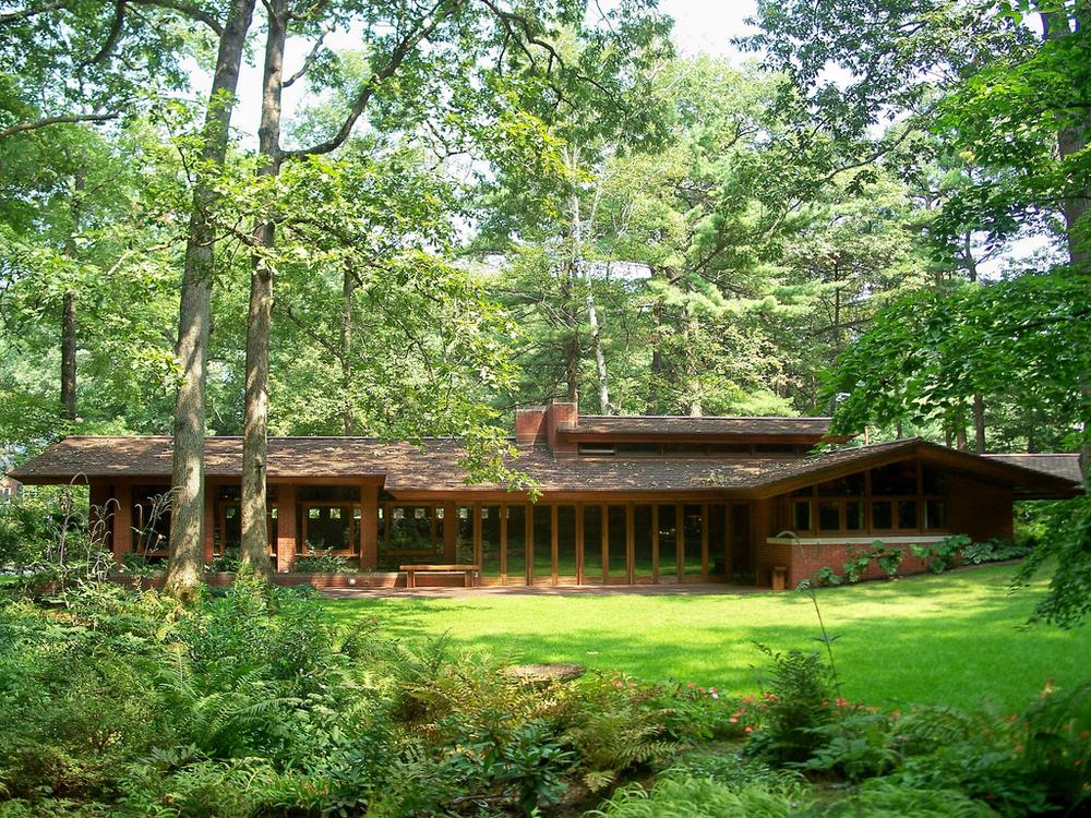 The Zimmerman House in Manchester, NH, designed by architect Frank Lloyd Wright in 1950. Author Howard Mansfield writes that Wright's architecture liberated its owners, Isadore and Lucille Zimmerman, to live a rich life. (photo by mmwm/Flickr)