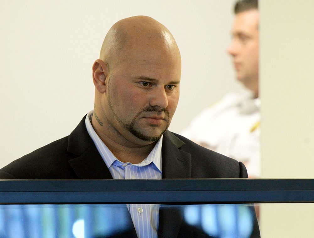 Jared Remy, during his arraignment on murder and assault charges in the death of his girlfriend, Jennifer Martel. (Ted Fitzgerald/Boston Herald/AP, Pool)