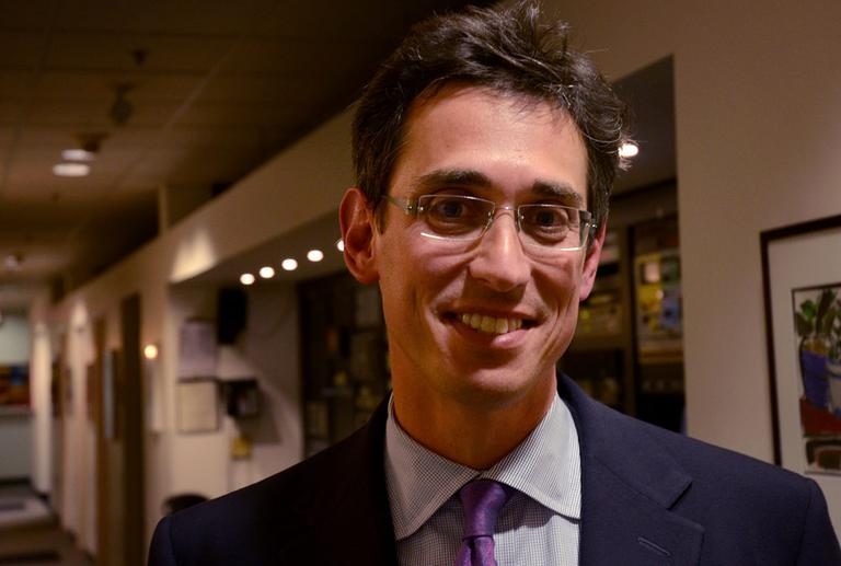 Evan Falchuk is a candidate running for governor. (Robin Lubbock/WBUR)
