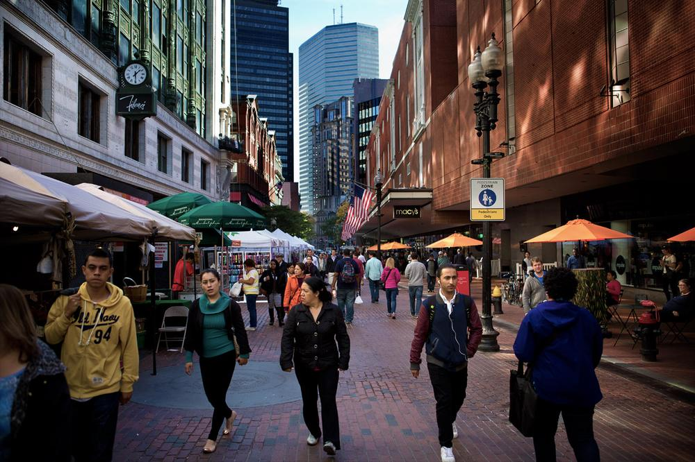 Downtown Crossing is the epicenter of Boston's social, cultural and commercial history. Since its heyday, it's seen a number of highs and lows. (Jesse Costa/WBUR)
