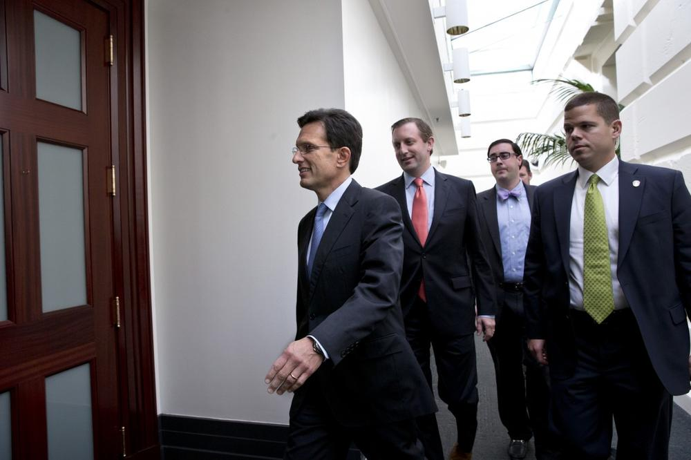House Majority Leader Eric Cantor, R-Va., arrives for a meeting with House Republicans after Senate leaders reached a last-minute agreement Wednesday to avert a threatened Treasury default and reopen the government after a partial, 16-day shutdown, at the Capitol in Washington, Wednesday, Oct. 16, 2013. (J. Scott Applewhite/AP)