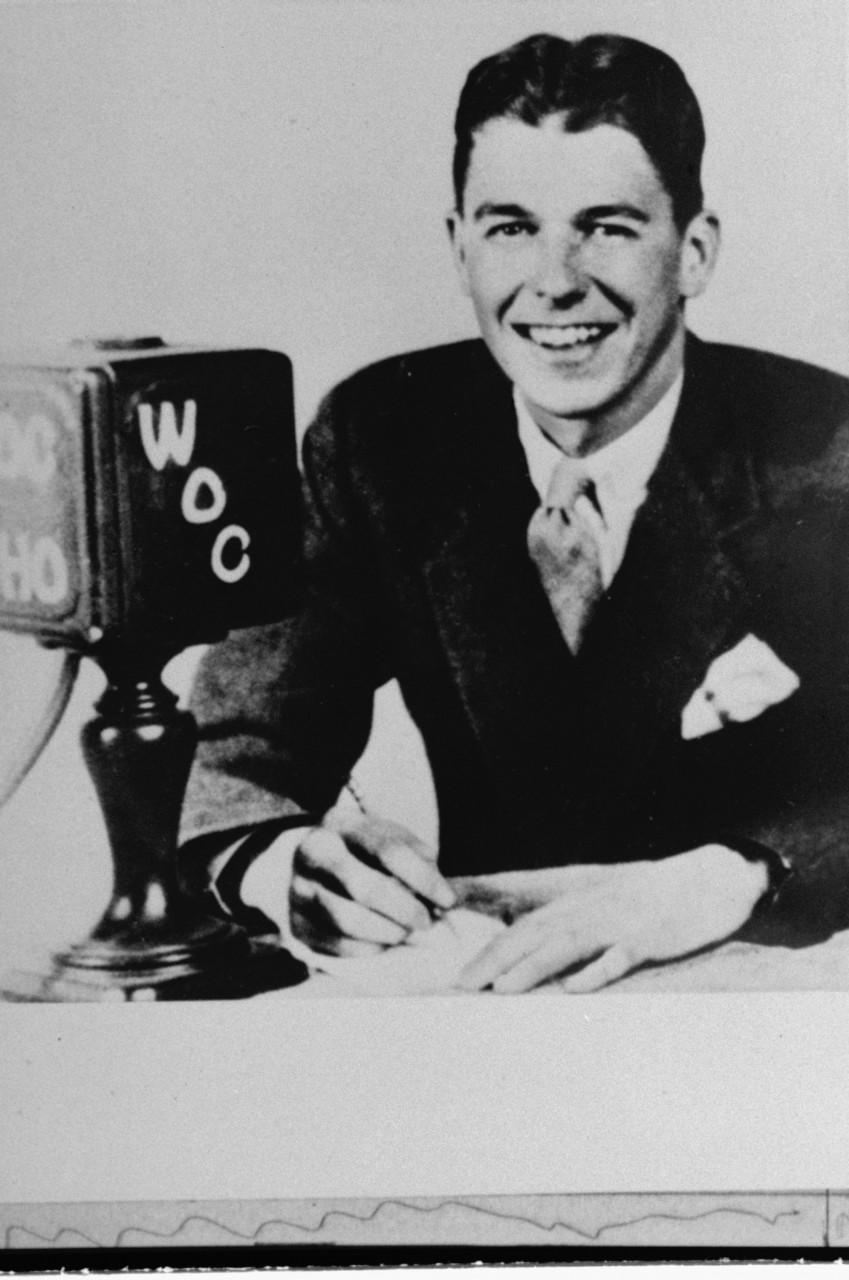 Ronald Reagan at the mic in 1932. The future president recreated Chicago Cubs games for an Iowa radio station. (AP)